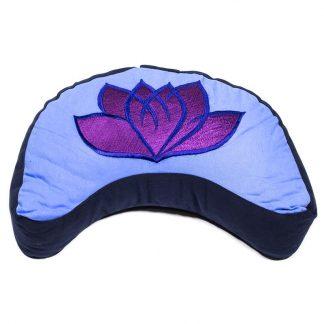 Meditatiekussen kopen- halve maan-violet/blauw lotus